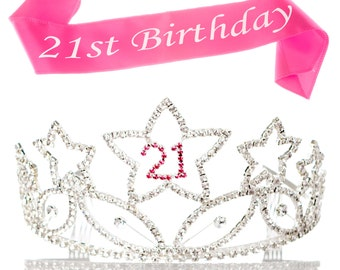 21st Birthday Tiara and Sash, 21 Rhinestone Silver and Pink Crown, Accessories Bundle Set,- Birthday Party Supplies & Decoration deas