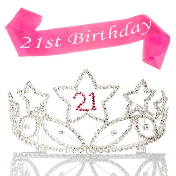 21st Birthday Tiara And Sash 21 Rhinestone Silver And Pink