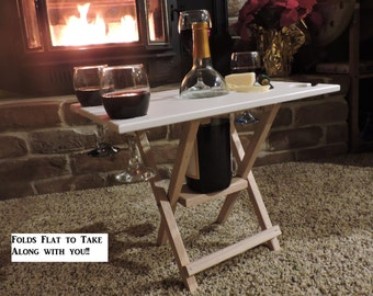 4 Glass White Wine Caddy Folding Table, Wood Wine Caddy, Travel Wine Table, Wine Server Table, Wine Table Cutting Board, Outdoor Wine Table