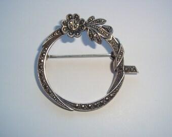 Vintage Sterling and Marcasite Flower Brooch