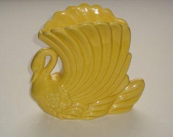 Genuine Vintage Haeger Swan Planter Yellow Glaze ~ Pattern 713