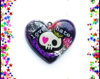 Love Hate skull heart necklace
