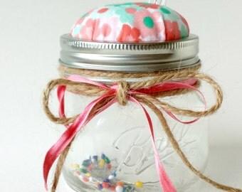 Pincushion, Pin Cushion, Mason Jar Pincushion, Pin Cushion Jar, Pin Cushion with Storage, Pink Pin Cushion, Mason Jar