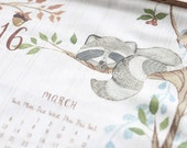 Whimsical Woodland Creatures Decorative Wall 2016 Calendar Watercolor Drawing Printed on Canvas Fabrics With Brass Hooks