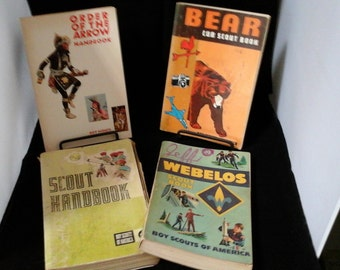 4 Vintage 1970's  Scout books Webelos Order of the Arrow Bear Cub Boy Scouts scouting