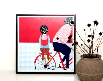 Illustration print framed - Bicycle