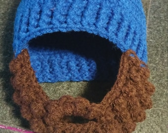 Crochet Beard Beanie Hat: Child Size