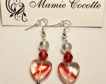 Earrings small hearts of glass