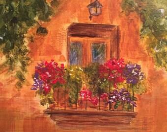 Spanish Balcony - hand painted acrylic