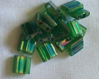 Miyuki Transparent Green Luster Tila Beads
