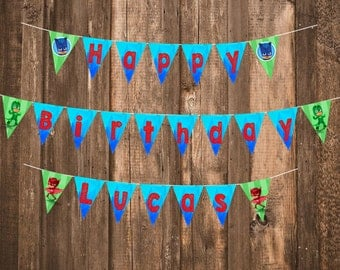 PDF Digital File for Customized PJ Masks Themed Birthday Party Banner -- Kid's Party Banners and Supplies!