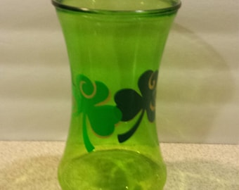 Large Green Vase with Green and Gold Shamrocks