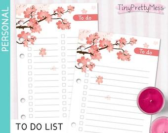 Printable Personal TO DO List Inserts for planner Filofax Personal, Kikki K Medium - PDF - Cherry Blossom Design