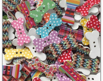 """10 or 20 Dog bone buttons, wood buttons, novelty buttons, scrapbooking sewing, crafts, 25 mm 1"""" assorted colors wooden buttons bones"""