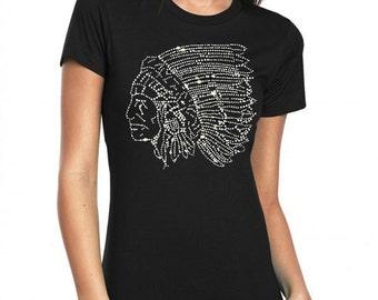 Indian Mascot head Rhinestone Bling  T-Shirt top