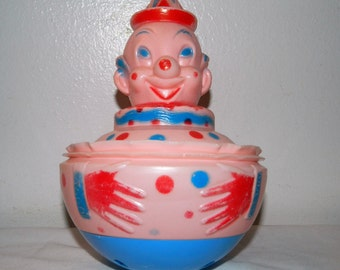 Vintage Creepy Clown Roly Poly Toy