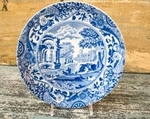 "Vintage Copeland Spode Italian Pattern Blue and White Fruit Plate 7-3/8"" Diam"