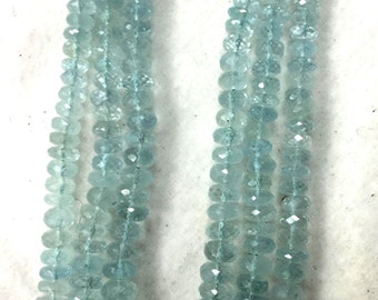 8 inch Strand, High quality Natural Blue AQUAMARINE Micro Faceted Rondells 5-6mm Aprx. High Quality