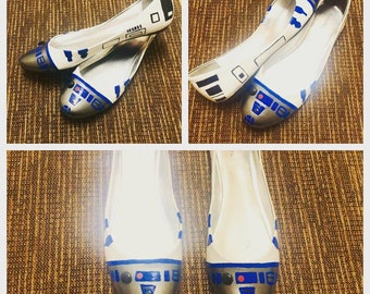 Hand Painted R2 D2 Flats