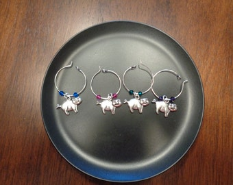 Wine Charms Pigs!! w/ Swarovski Crystal