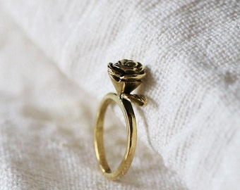 Rose Ring / Linen Jewelry / Everday Jewelry / Rose Jewelry / Rose Brass Ring