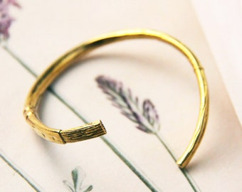 Brush Bangle / Linen Jewelry / Brass Bangle / Brass Bracelet / Brass Handcuff / Design Bangle