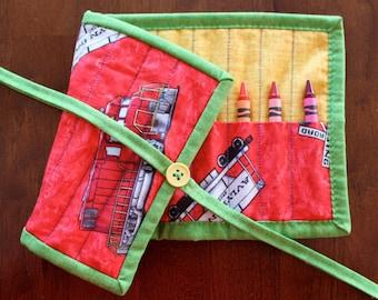 Train Crayon Holder, Train Crayon Roll Up, Red Crayon Roll Up, Boy Crayon Holder, Red Blue Yellow, Art Supplies, Trains, Boy Crayon Roll