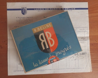 Razor blades R BELINE French - one lot of 20 boxes of five blades - and a bill dated 1947
