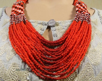 Guelder rose. Traditional Ukrainian Beads Necklace.