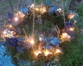 Outdoor Chandelier - Grapevine Wreath Chandelier - with Led Lights and Small Hanging Votives in Jars