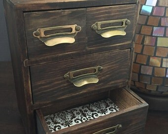 Vintage Card Catalog Jewelry Box