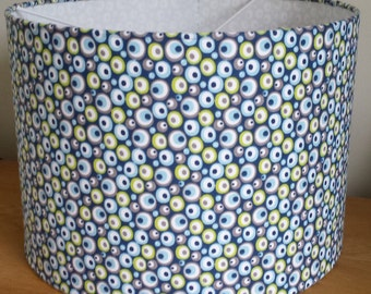 Handmade blue mini-gem pattern 30cm drum lampshade