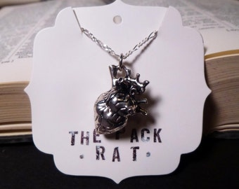 Silver Anatomical Heart Pendant Charm Necklace