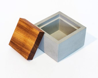 Concrete Salt Box with Mahogany Cover / Sugar Box / Salt Cellar / Sugar Box