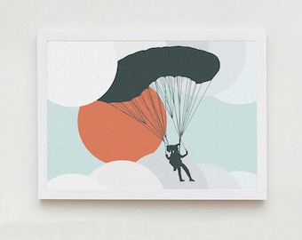 Parachuter art decor home design print interior