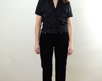 Black Embroidered Shirt/ Black Embroidered Blouse/ Black Button Up Shirt/ Black Short Sleeve Shirt