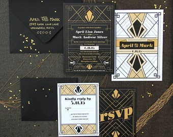 Art Deco Wedding Invitation Sample