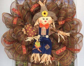 Fall Deco Mesh Scarecrow Wreath