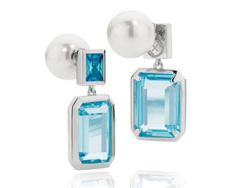 Oxus Something Borrowed, Something Blue fully reversible earrings in 925 sterling silver. Also available in pink and green options.