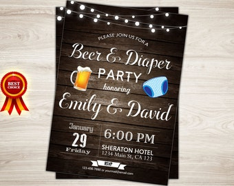 Diaper party invitation | Etsy