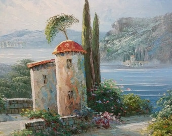 Oil painting Italian Mediterranean ocean impressionist signed house mountains