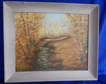 Old Vintage Oil painting signed autumn European forest water stream trees