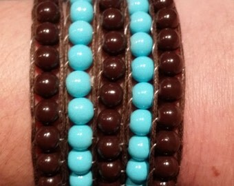 Turquoise and Brown wrap bracelet