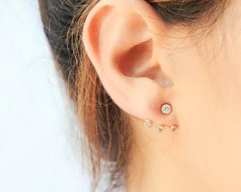 Ear jacket - Front back earrings - Gold cz ear jacket earrings - Ear jacket earrings - minimalist earrings - Dainty ear jacket earrings