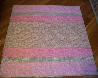 Baby Girl Quilt, Pink and Green
