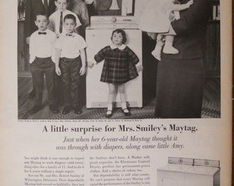 Maytag ad.  1967 Maytag with Smiley family.  Black and white.  Life Magazine.  September 29, 1967.