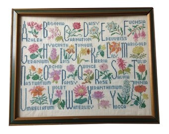 Vintage A B C Cross-Stitched Flowers Sampler