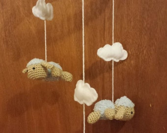 Crochet Sheep Lamb Baby Mobile in Blue