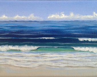 "Original Painting Deep Blue Surf, 5""x7"", Natural History Beach Gift Idea Nautical Painting Home Decor Marine Wall Decoration Seascape"