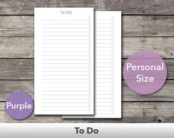 Filofax To Do List Personal Size Planner Inserts – Fits Filofax Personal Size and Kikki.K Medium Size – Printable – Purple